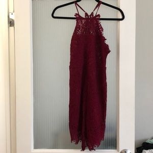 Free people knit body con dress in burgundy